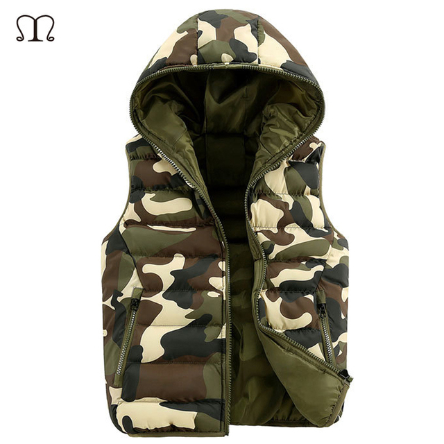 Fur Vest Outwear Camouflage Cotton Hooded Chaleco Hombre Vests Men Manteau Homme Sleeveless Down Jacket Vest Waistcoat Man 2016