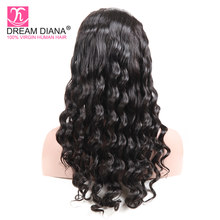 DreamDiana Brazilian Loose Deep Wave Wig Full Lace Wigs For Black Women Swiss Lace 1B Remy Hair Hand Tied Human Hair Weave Wigs(China)