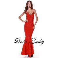 כניסות חדשות 2016 אלגנטי תחבושת שמלה ארוכה אדום שמלת V העמוק צוואר חזור להרחיב סיטונאי שמלות HL