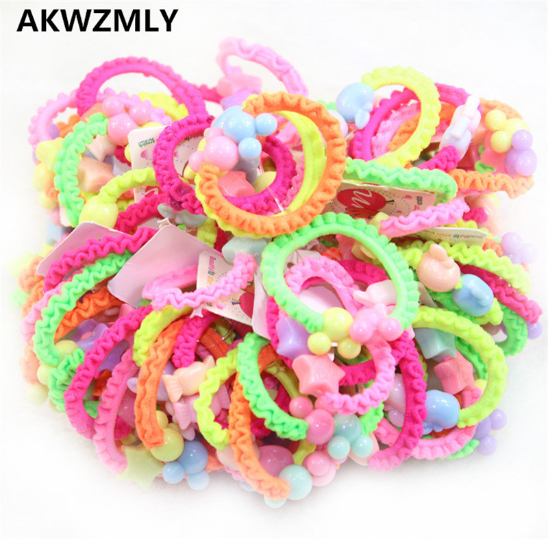 50Pcs/pack Fashion Candy Color Hair Bands Good Headband Flower Cartoon Rubber Ropes Beads Star Hair Accessories for Women Girl exquisite candy color faux gem embellished flower pattern bracelet for women