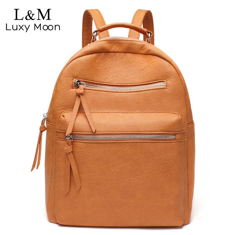 Women Solid Backpack School Bags Teenage Girls Shoulder Bag Simple Zipper High Quality Leather Backpacks Sliver Rucksack XA543H