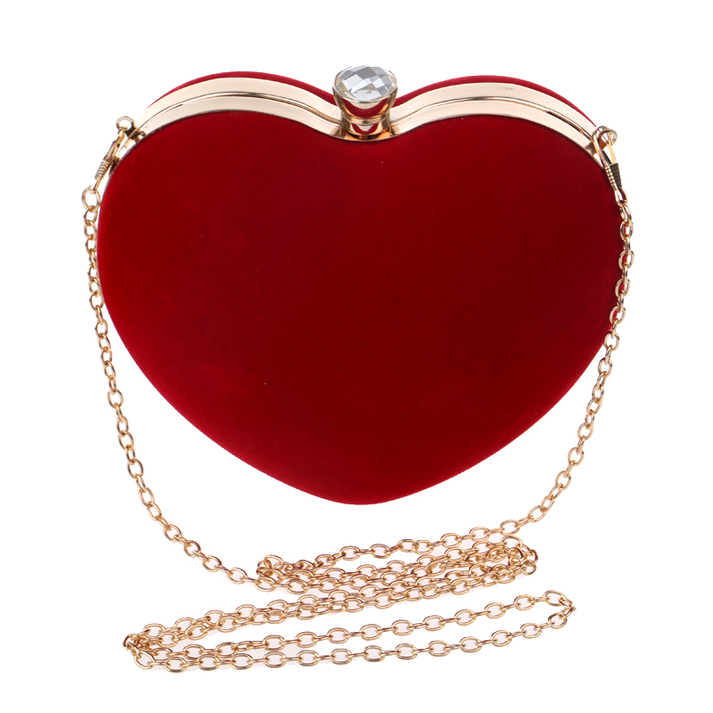 Heart Shaped Diamonds Women Evening Bags Chain Shoulder Purse Day Clutches Evening Bags For Party Wedding(Red)