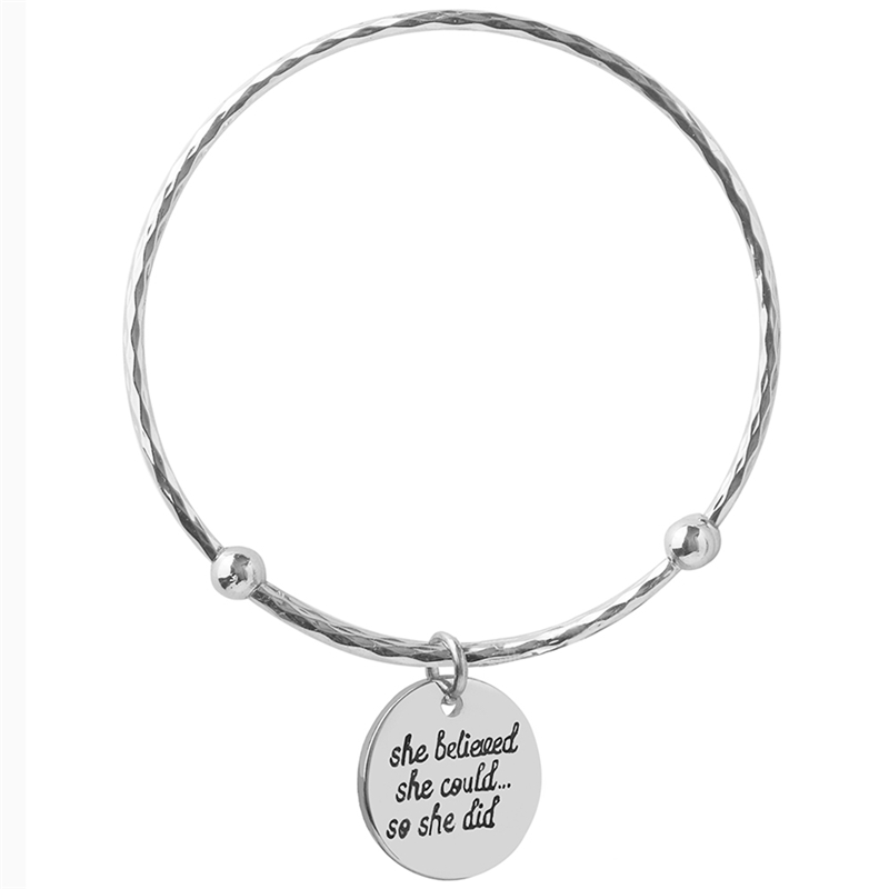 Initial Letter Bracelets & Bangles Gravure Charm Silver Color Expandable Wire Adjustable Tiffan Jewelry Female For Women Gifts