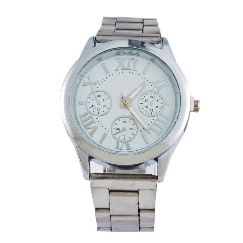 Doreen Box Steel Women Quartz Wrist Watches Silver Color Roman Numerals Three-eyes Battery Included 22cm(8 5/8) long, 1 Piece