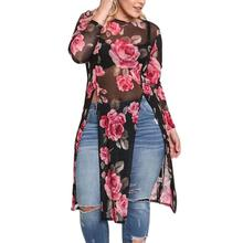 2017 Hot Fashion Autumn Plus Size Women Floral See-Through Split Blouse Female O Neck Long Sleeve Top Long Clothing Sexy Blouse