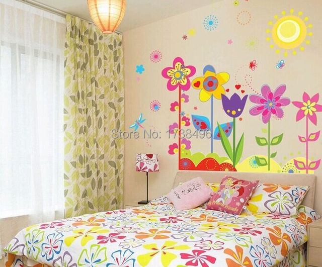 Flowers wall sticker child role of children\'s diy adhesive art mural ...