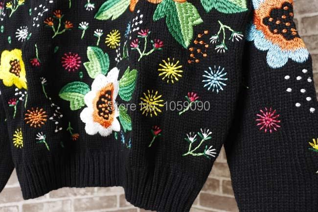 Pulls Coloré Femme De Longues Noir 2017 Tricoter Rond blanc Jumper Manches Fleurs Noir Nouveau À Luxe Mode Broderie Chandails Col qIwqaEY