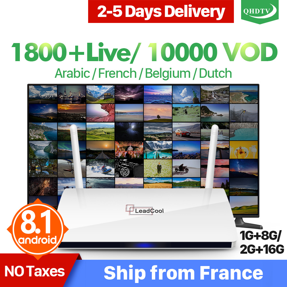 Leadcool IPTV France Arabic QHDTV Box Leadcool Android TV Receiver RK3229 Quad Core Wth 1 Year
