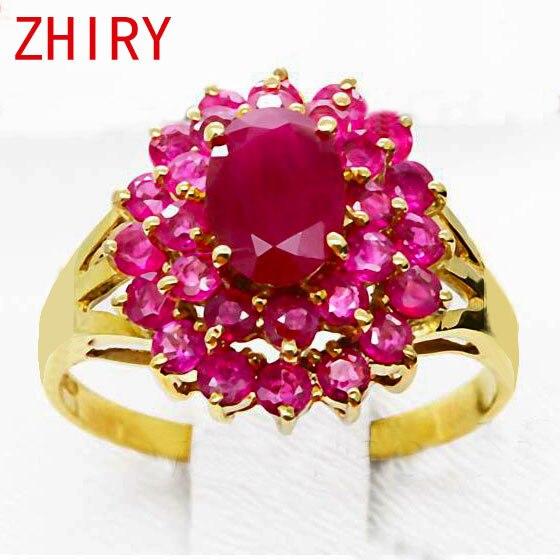 18 K anillo de oro rosa rubí Natural piedra preciosa joyería fina gema Anillos De Compromiso aniversario Mujer