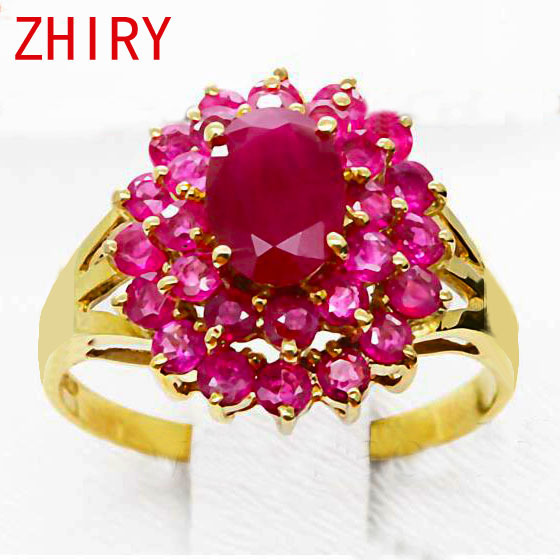 18K rose Gold ring Natural Ruby Precious stone Fine Jewelry Gem rings Engagement Anniversary woman