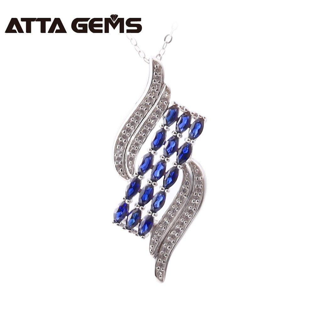 Saphir bleu pendentif en argent Sterling Design de bijoux fins pendentif en argent massif saphir créé pour les femmes fête et mariage