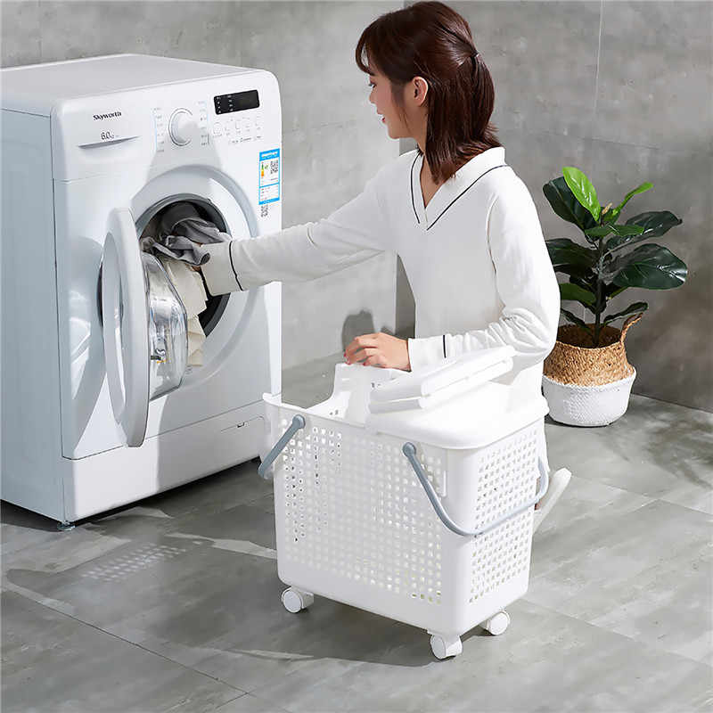 Multifunctional Hamper Plastic Laundry Basket Bathroom Toilet Clothes Dirty Clothes Storage Basket 020 Y