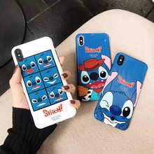 Fashion Kartun Anime Indah Disneys Stitch Beberapa Penutup Case untuk iPhone 8 7 6 6 S Plus X XR XS max Silikon IMD Phone Kembali Shell(China)
