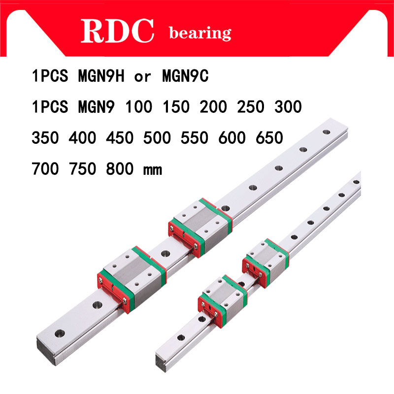 9mm Linear Guide MGN9 L= 100 200 300 350 400 450 500 550 600 700 800 mm linear rail way + MGN9C or MGN9H Long linear carriage