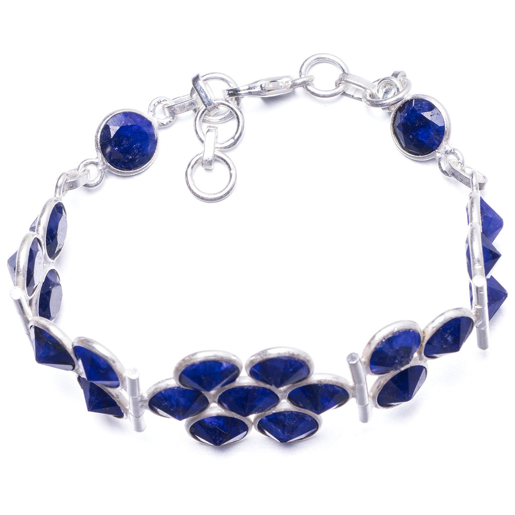 Natural Sapphire Handmade Unique 925 Sterling Silver Bracelet 7 1/4-8 1/4 Y1918 1 4