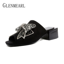 купить Women Slippers Mules Shoes Heels Brand Summer Shoes Woman Sandals Crystal Bowknot Peep Toe Black Female Slides Casual Plus Size по цене 1516.59 рублей