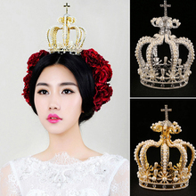 Elegant Big Crown Crystal With Pearl Tiara Wedding Crown Bride Womens Head Band Vintage Baroque Tiara Royal Hairband Accessories