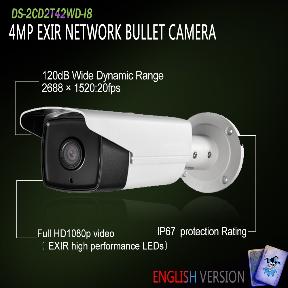 Hikvision Free Shipping In Stock DS-2CD2T42WD-I8 Original English Version IP EXIR Bullet Camera POE security P2P Onvif H265