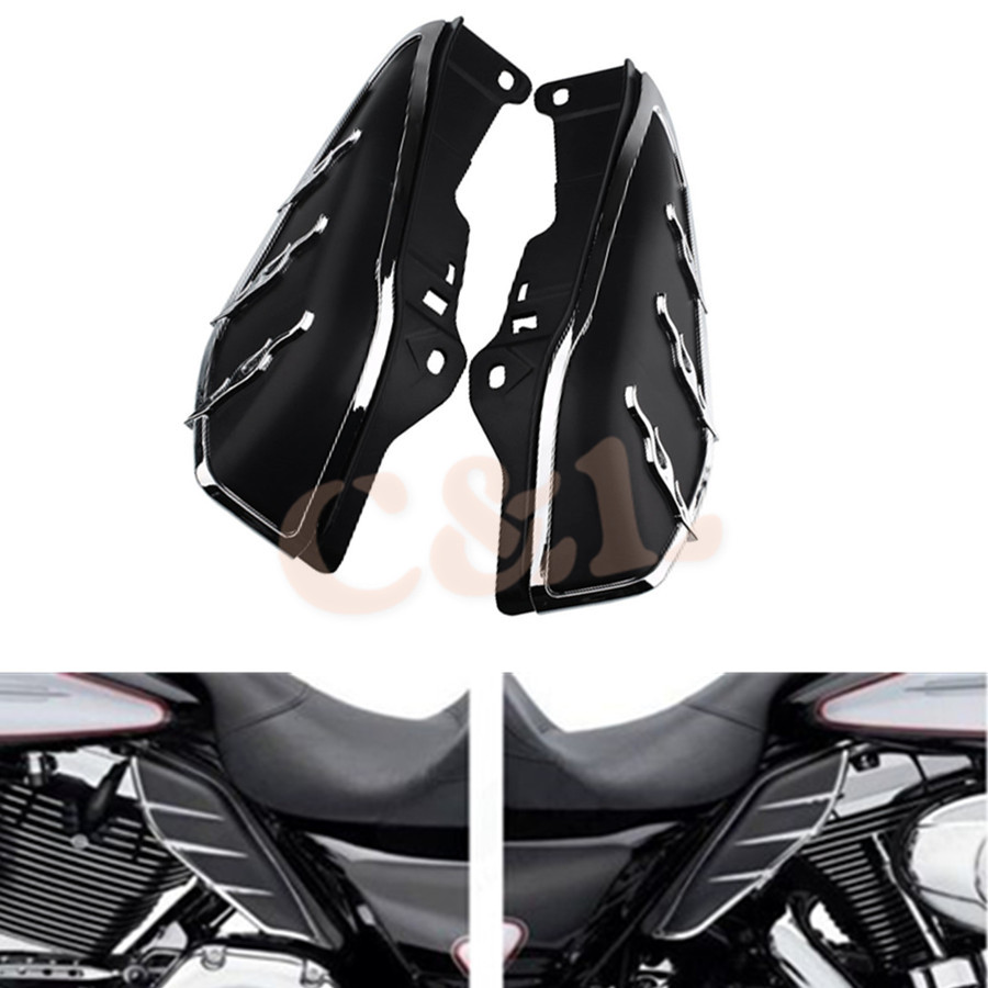 New 1pair Motorcycle Mid-frame Air Deflector Accents Trims For Harley Touring Fl Models Strengthening Sinews And Bones Covers & Ornamental Mouldings Frames & Fittings