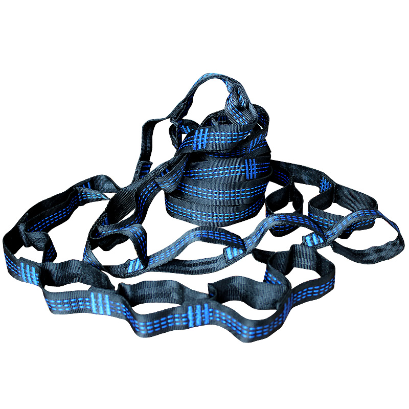 Blue Three Line Hammock Straps Hammock Tree Strap Rope Belts Outdoor Furniture Accessory Loading 2000kg