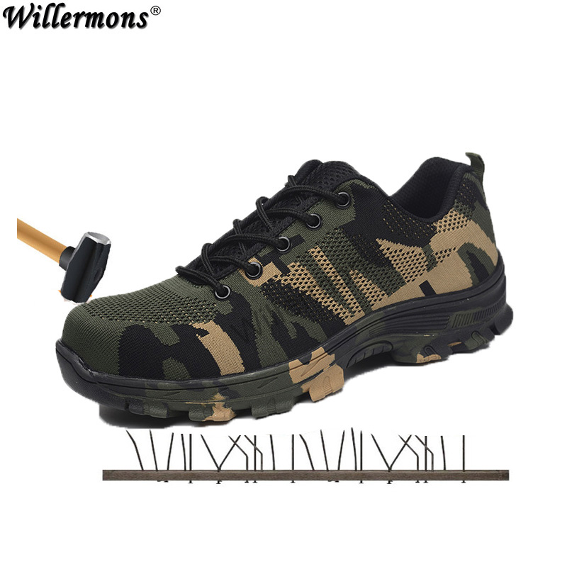 2018 nuevos hombres de tamaño al aire libre puntera de acero trabajo militar y botas de seguridad de los zapatos de los hombres de los camuflaje ejército punción prueba de botas