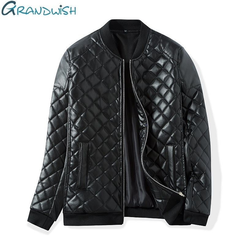Grandwish Winter Warm Thick Leather Jacket Men Stand Collar Padded PU Leather Jacket for Men Men's Jacket Quilt Jacket,DA307