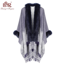 2020 Winter Foulard Women Poncho With Fur Collar Floral Female Cashmere Shawls Scarf Jacquard Skill Warm Pashmina Poncho Tassel