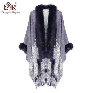 Image 1 - 2020 Winter Foulard Women Poncho With Fur Collar Floral Female Cashmere Shawls Scarf Jacquard Skill Warm Pashmina Poncho Tassel