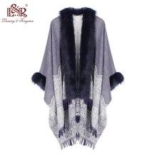 2020 冬スカーフ女性ポンチョ毛皮の襟の花女性のカシミヤショールスカーフジャカードスキルで暖かいパシュミナポンチョタッセル