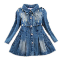 2016 Sping Autumn Kids Clothes Children Clothing Baby Girls Princess Dress Denim Holiday Jean Coat Dress