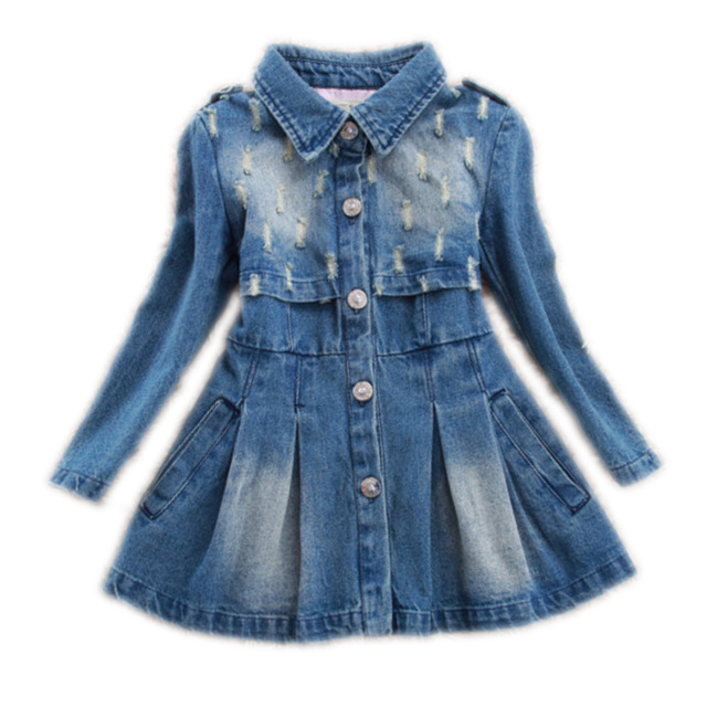 d44baea6c Girls Dresses Kids Denim Washing frayed Dress For Girls A Line Long ...