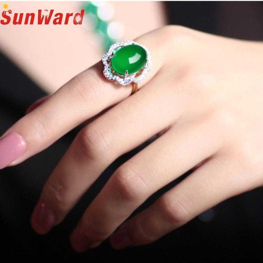 แหวนแฟชั่นผู้หญิงแฟชั่นปรับเครื่องประดับเงินสีเขียวเพทายแหวนแต่งงานเกี่ยวกับไขกระดูกแหวนของเพทายdb8 p30