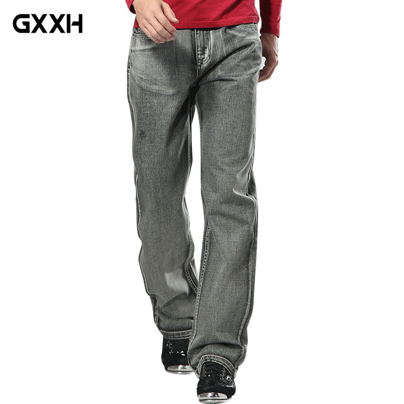 2019 Men's Brand Jeans High Quality Gray Mens Retro Baggy Jeans Hip Hop  Loose Skateboard Denim Pants Brand Clothes Size 28-48