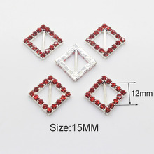 Red Square 10pcs15mm Diagonal bar Rhinestone Buckles 2017 Metal buckle Diy Hair Accessory Wedding Decorative Ribbon deduction(China)