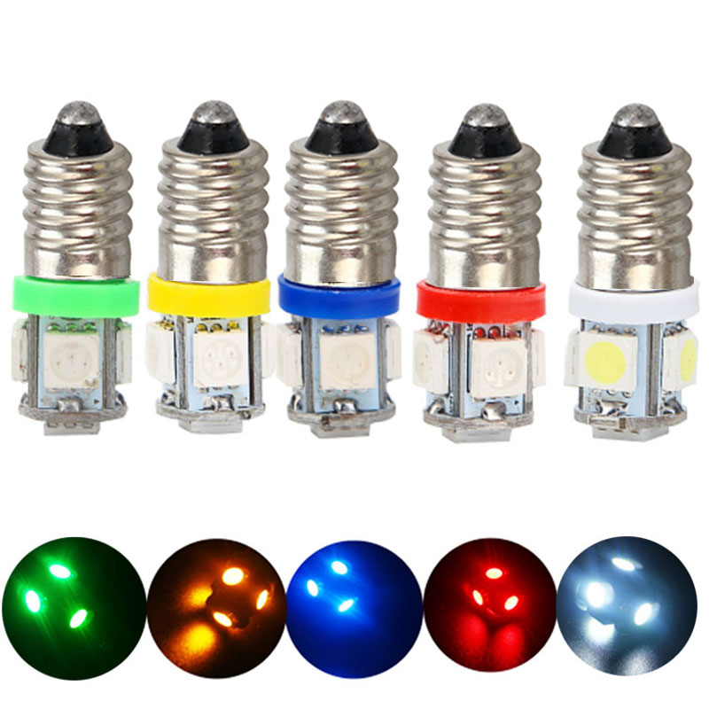 20pcs E10 DC 6V 6.3V Car LED Screw bulb Warning Signal Light bulb 5 SMD 5050 LED Auto Indicator Bulbs warm white blue red DC6V image