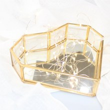 Love Heart Shaped Mirror Jewelry Box Geometric Glass Flower Room Golden Tray Plate