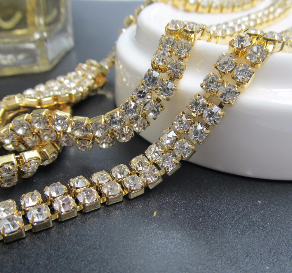 ss6 ss16 rhinestones cup chain 2 rows ccbcc2c12dbe