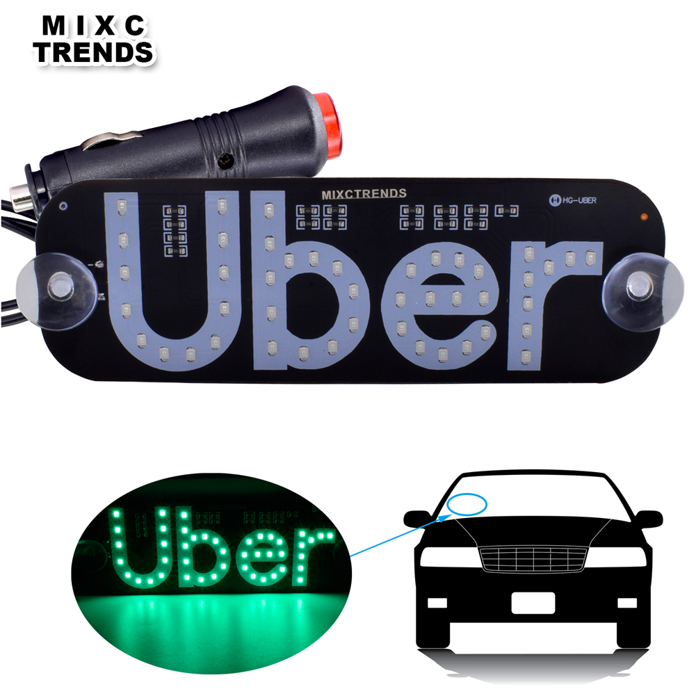 1Pcs Uber LED Signs 12V Car LED Roof Windshield Uber Panel Light Car Window Taxi Top Signal LED Light with Cigarette Lighter