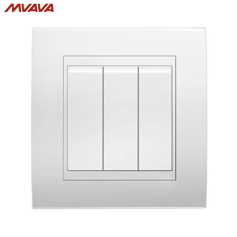 MVAVA 16A 110~250V 220V 3 Gang 1 Way Electrical Wiring Push Button Light Wall Switch White Chromed PC Frame Panel Push Switch free shipping polo luxury wall light switch panel 3 gang 2 way champagne black push button led switch 16a 110 250v 220v