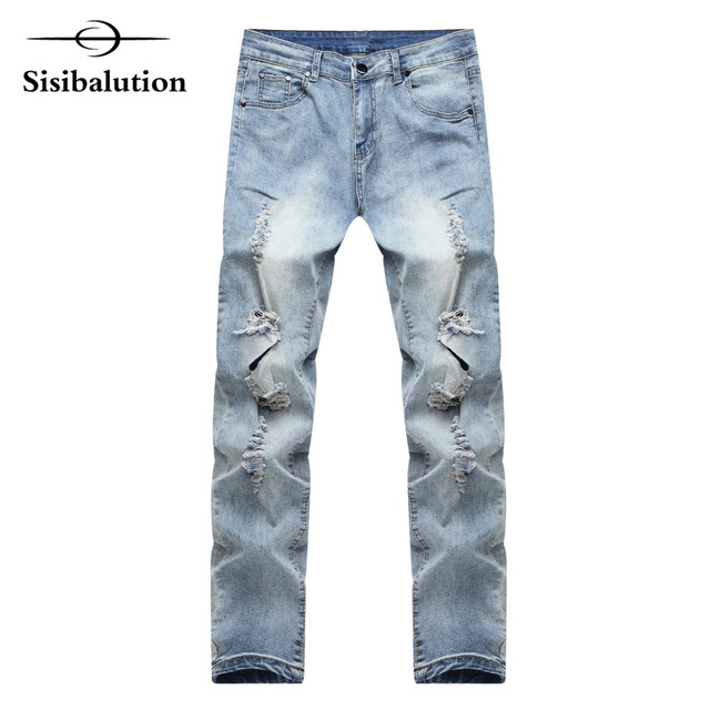 b3f60061 High quality men's jeans hole Casual ripped jeans men hip hop pants Slim  feet jeans for male denim trousers street fashion style