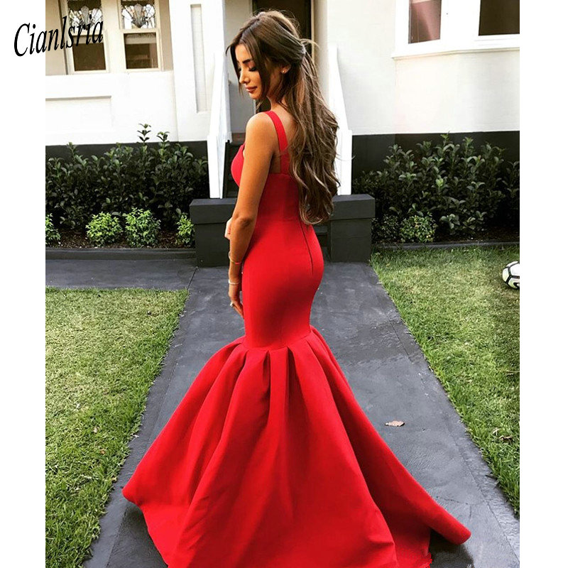 Long Red Spaghetti Straps Mermaid Prom Dresses Simple Formal Dresses Evening Party Gowns Vestidos de fiesta largos Abendkleid