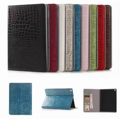 New good quality Luxury Crocodile Pattern Leather Case for iPad 6 Foldable Stand Smart Cover for Ipad air 2 Tablet PC Case