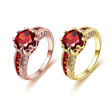 2016 plated rose /  gold wedding rings with red Austrian crystal jewelry luxurious romantic Valentine's Day gift