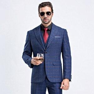 Мужской Клетчатый костюм, деловой костюм, приталенный Классический мужской костюм, блейзеры, роскошный костюм, мужская куртка с двумя пугов...