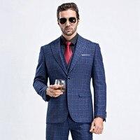 Мужской Клетчатый костюм 2019 деловой костюм обтягивающие классические мужские костюмы блейзеры роскошный костюм мужские две кнопки пиджак,