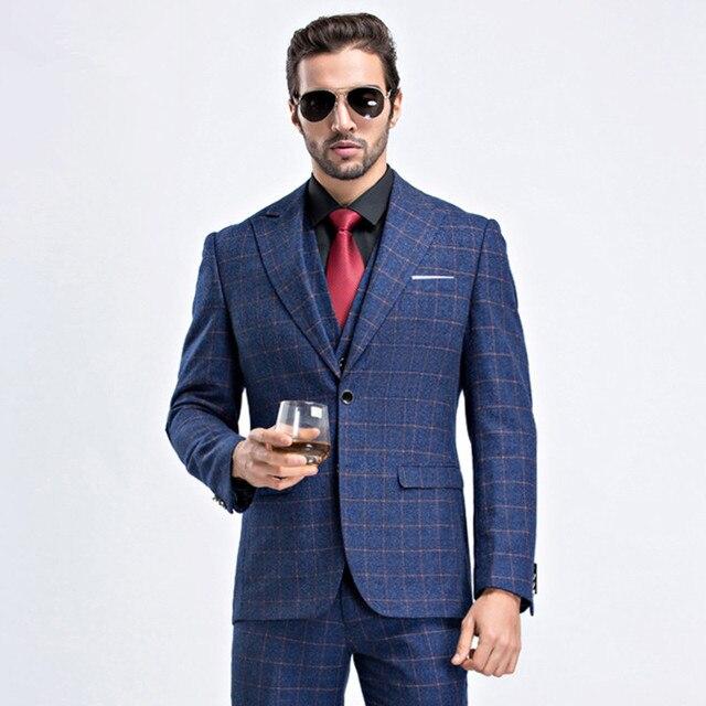 58246345a2bd2 Męskie Plaid garnitur 2019 garnitur Slim fit klasyczny mężczyzna garnitury  marynarki luksusowy garnitur mężczyźni dwa przyciski
