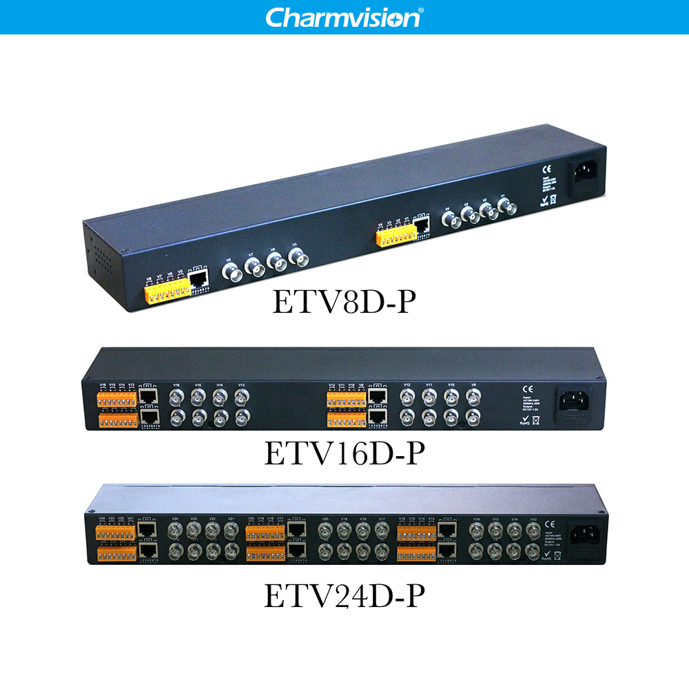 Charmvision 8 16 24 chs Powerd in RJ45 CCTV Analoge Kamera Twisted Pair Video Empfänger Rack-montiert Aktiven Typ video Sender