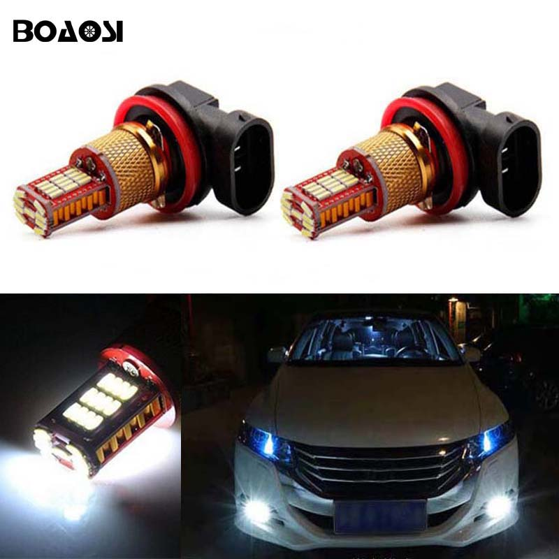 BOAOSI 2x H8 H11 Samsung 4014SMD LED Fog Driving Light Lamp Bulb For honda civic fit accord Crider crv boaosi 2x h11 led canbus 5630 33 smd bulbs reflector mirror design for fog lights for honda civic fit accord crider crv