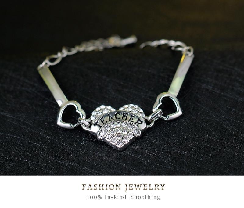 3eccc66e94 US $1.95  DIY Teacher Letters Bracelets Women Silver Crystal Rhinestone  Heart Charm Bracelet For Teacher's Day Bracelet Femme Jonc-in Charm  Bracelets ...
