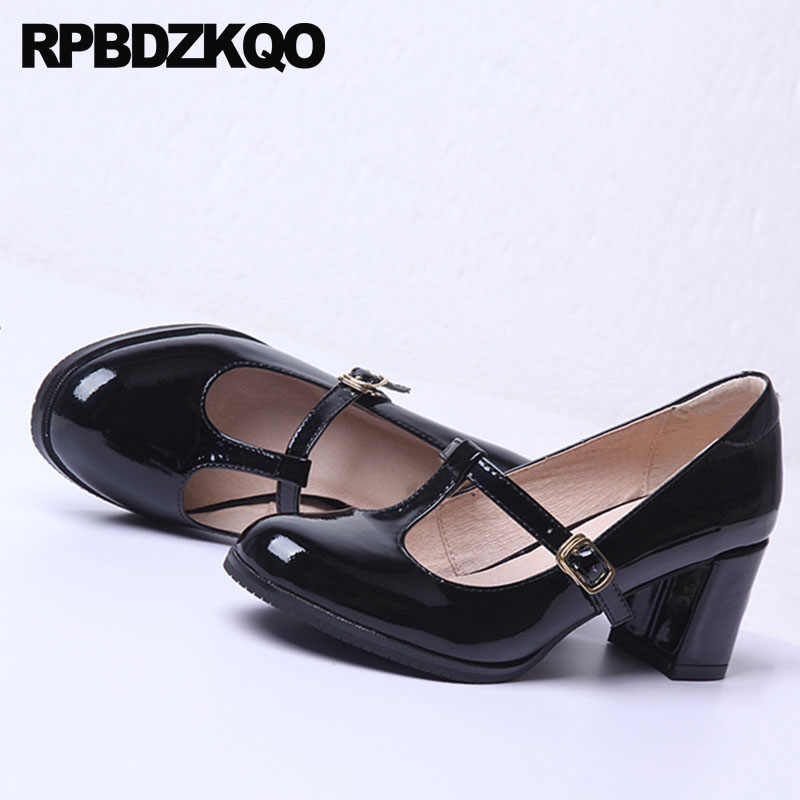 1b066058cf ... Block Heels Shoes For Women Genuine Leather Thick Black Kawaii Patent  Mary Jane T Strap Retro ...